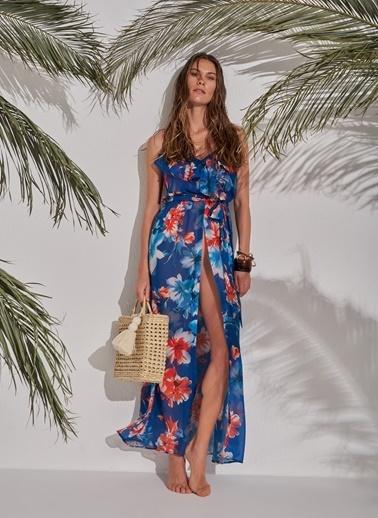Morhipo Beach Çiçek Desenli Elbise Mavi